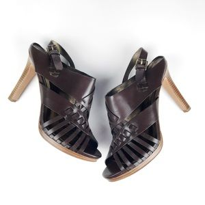 Coach Bessy Cutout Multi Strap Brown Leather Heels